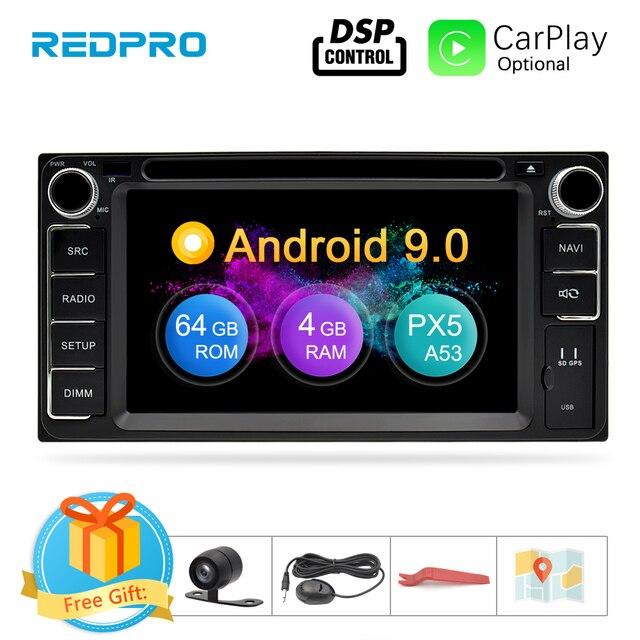 אוניברסלי אנדרואיד 9.0 DVD GPS ניווט רדיו וידאו נגן סטריאו 4G RAM + 64G ROM 2 דין Wifi bluetooth headunit מולטימדיה לרכב