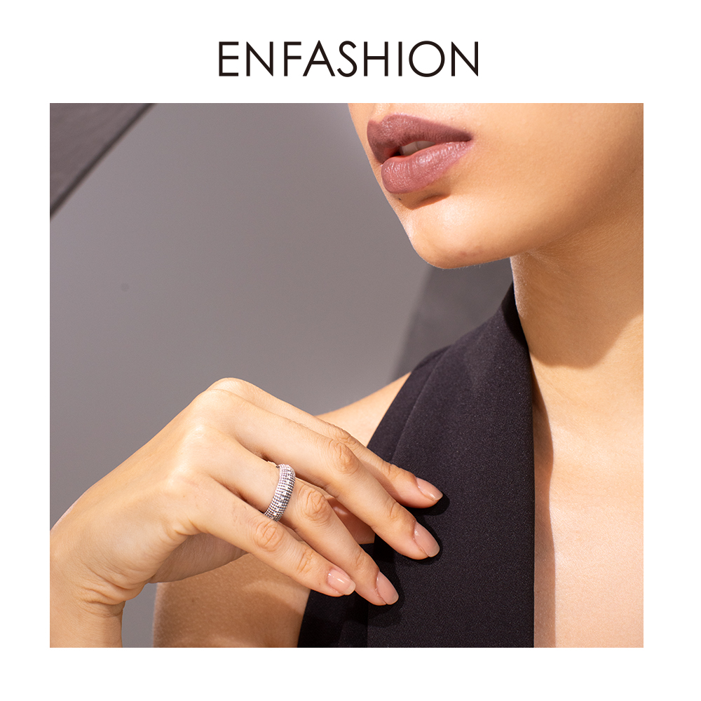 ENFASHION Vintage Crystal Mosaic Plaid Ring Men Stainless steel Lady Small Grid Finger Rings For Women Fashion Jewelry R194026