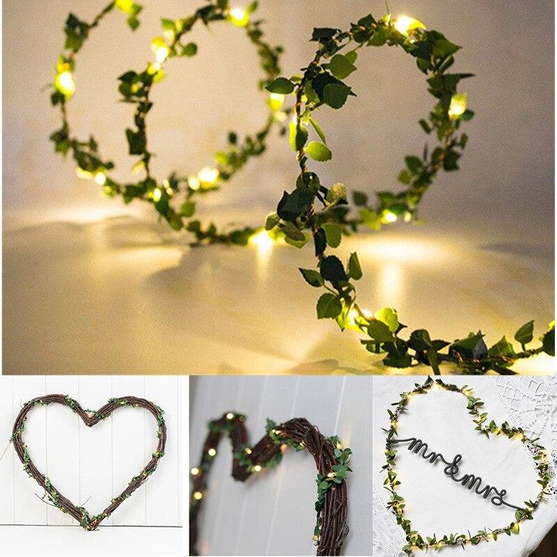Гирлянда в виде листьев 2 м, 20 светодиодов, искусственные растения, зеленая искусственная vinная лоза, тропические листья, свадебное украшени...