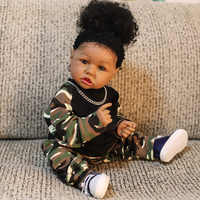 22 pulgadas Hip Hop Rock bebé chica negro africano americano Saskia muñeco de bebé Reborn completa de cuerpo Bebe niña niños compañero regalos