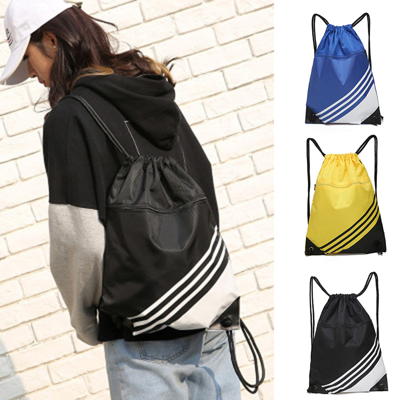 Double Color Stitching Stripe Drawstring Bag Travel Backpack Sports Backpack Men Women Waterproof Nylon Storage Bag H66