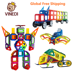 Image 1 - VINEDI grande taille blocs magnétiques magnétique concepteur constructeur ensemble modèle et construction jouet aimants jouets éducatifs pour les enfants