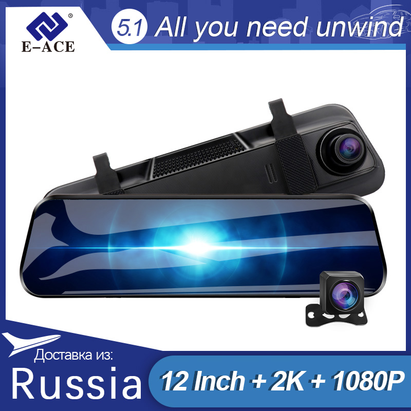 E-ACE A37 Auto Dvr 10,0 Inch Rückspiegel 2K Dash Cam 1080P Auto Kamera Mit Rückansicht kamera Video Recorder Kanzler Dvrs