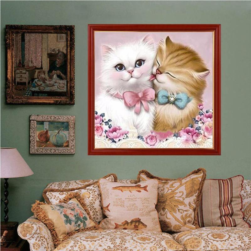 5D DIY Diamond Painting Embroidery Home Decor Lovely Cat Cross Crafts Stitch Kit Diamond Painting Cross Stitch