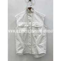 2020 Summer Fungus Lace Stand Collar Sleeveless Shirt High Quality Women Fine Embroidery Temperament 100% Cotton Shirt