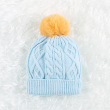 New Fashion Children Winter Hats Baby Kids Girl Solid Knitted Beanies Caps Hair Ball Thick Boys Girls Warm