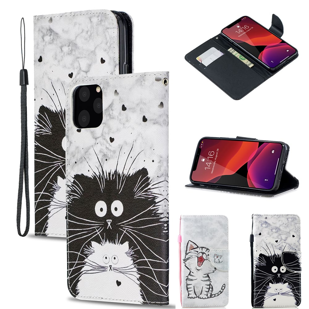 Protetive Girls Lanyard Magnetic Flip Leather Wallet Case For <font><b>HUAWEI</b></font> <font><b>Mate</b></font> 20 <font><b>Lite</b></font> <font><b>P20</b></font> Pro Y6 Prime Y7 Soft Cover Card Slots <font><b>Capa</b></font> image