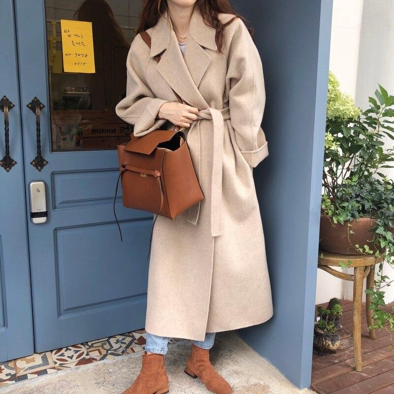 19 Winter Oversize Long Trench Coat Women Cashmere Coat Korean Lady Windbreaker Outwear Streetwear 67