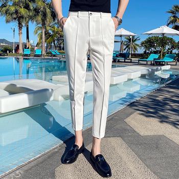 Białe spodnie męskie spodnie społeczne czarne klasyczne spodnie męskie stylowe szare spodnie męskie niebieskie dorywczo dopasowany przylegający garnitur spodnie do kostek tanie i dobre opinie NSTOPOS L4187 Poliester Mieszkanie Anglia styl Zipper fly 28-36 business pants suits men men dress pants mens business trousers