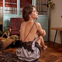 Robe de nuit Sexy, dos nu, tenue de nuit pour femme, plongeant en V, poitrine basse, en dentelle, soie, tenue de nuit, mince et séduisante