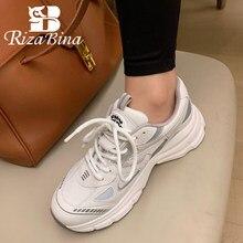 RIZABINA – baskets en cuir de vache pour femmes, chaussures à plateforme, à la mode, mélange de couleurs, pour tous les jours, taille 35 à 39