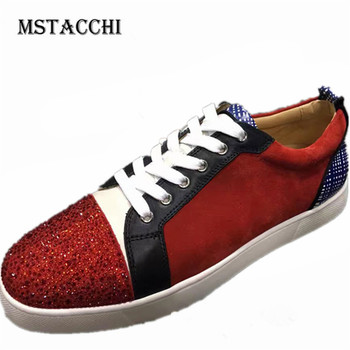 MStacchi Fashion Men Casual Shoes Leather Suede Rhinestones Lace-Up High Quality Male Flats Sneakers Outdoor Walking Men Shoes