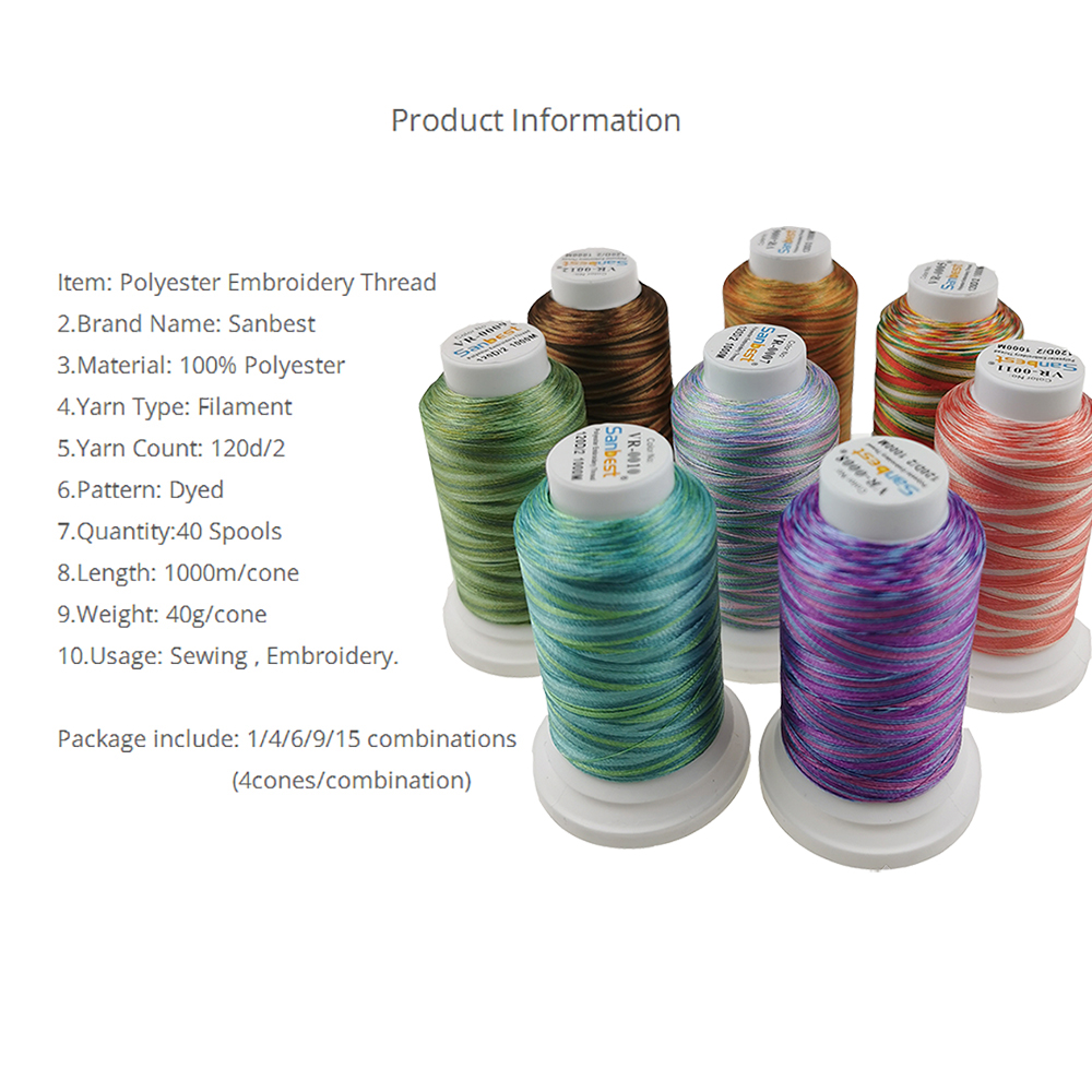 Купить с кэшбэком Sanbest High Quality 92 Colors Polyester Embroidery Thread Fliament 120D/2 1000M Brother Singer Machine Sewing Threads TH00027