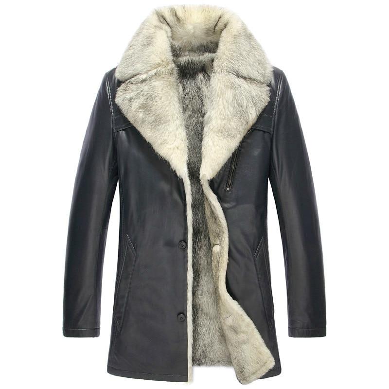 Winter Genuine Leather Jacket Men Real Wolf Fur Liner Long Sheepskin Coat Plus Size Warm Leather Coat 5051 KJ1366