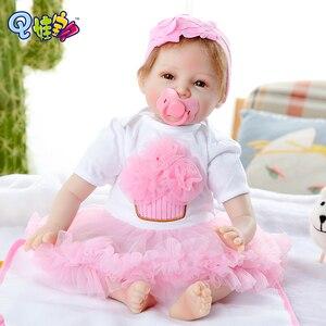 55 см милые счастливые розовые кружевные цветы импортная мохеровая Кукла Reborn для мальчиков и девочек Рождественский подарок на день рождени...