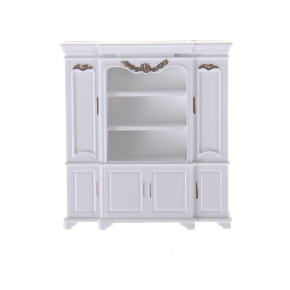 Mini Cabinet Model Kitchen Dining Cabinet Display Shelf Dollhouse White Doll House Decoration Miniature Kitchen 51*12*56mm