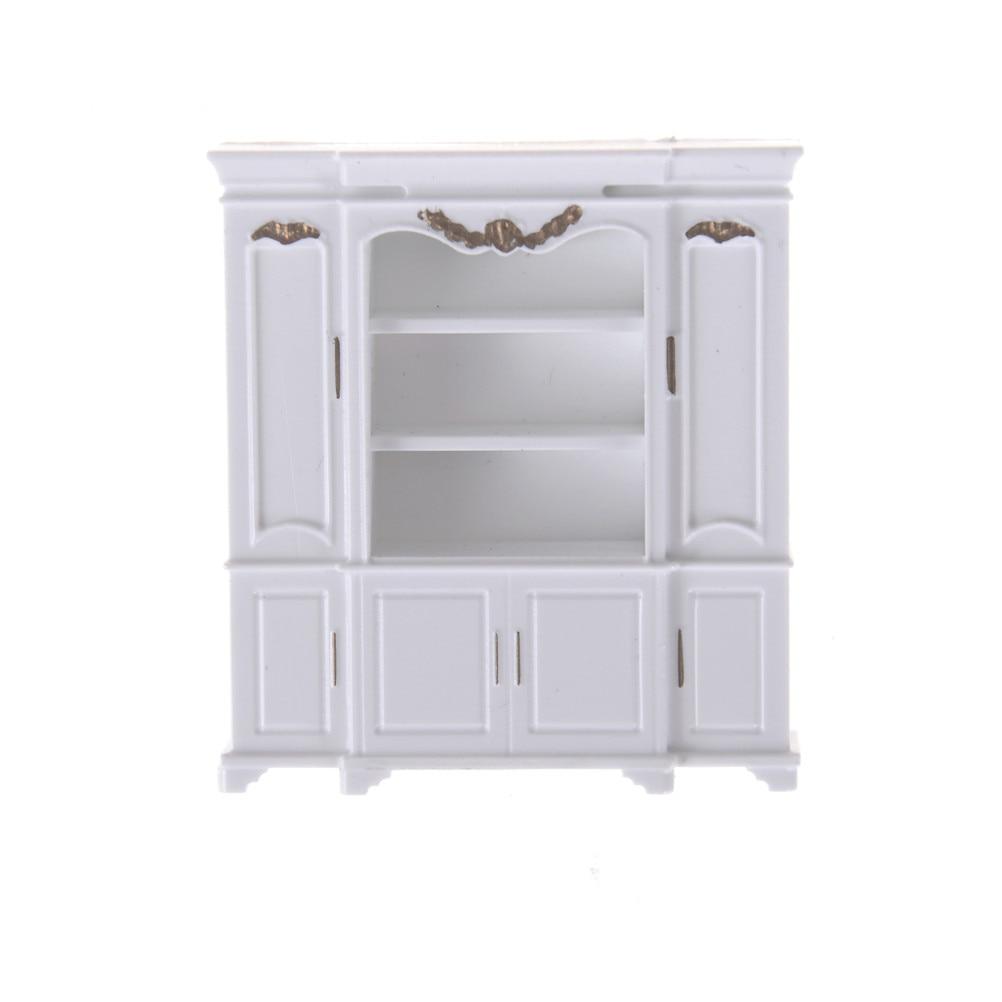 Mini Cabinet Model Kitchen Dining Cabinet Display Shelf Dollhouse White Doll House Decoration Miniature Kitchen 51*12*56mm