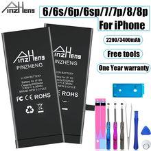 PINZHENG 2200/3400mAh Bateria do iPhone 6 6S 7 8 Plus wymiana baterii do iPhone 7G 8G 6G 6S Plus baterie do telefonów komórkowych