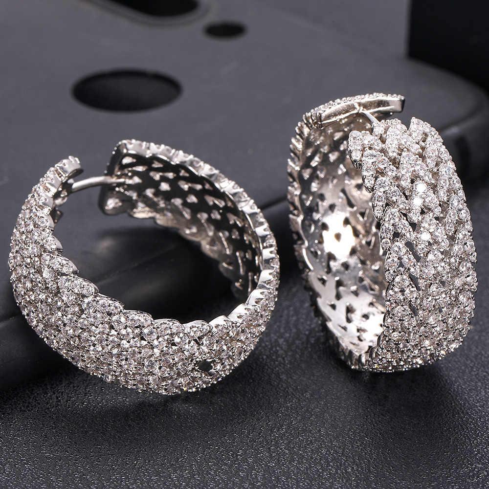 Janeklly à la mode géométrique bambo boucles d'oreilles pour femmes accessoires complet cubique zircon boucles d'oreilles bijoux pendientes mujer moda