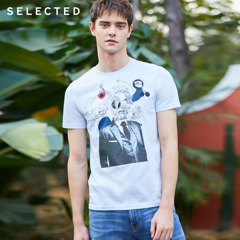 SELECTED Men's 100% Cotton Printed Short-sleeved T-shirt S|419201503