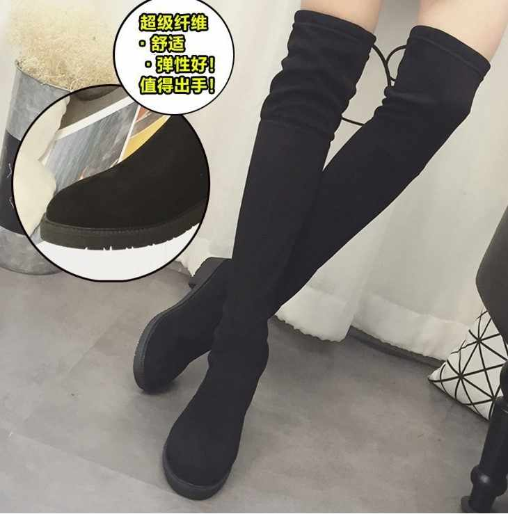 2019 neue Herbst winter neue knie stiefel frauen nehmen hohe länge stiefel lange stiefel flache stiefel warme stiefel reiten stiefel FD10