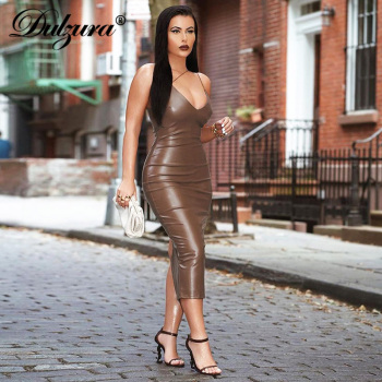 Dulzura Pu Faux Leather Women Slit Midi Dress Strap V Neck Backless Bodycon Sexy Streetwear Party Elegant Autumn Winter Club