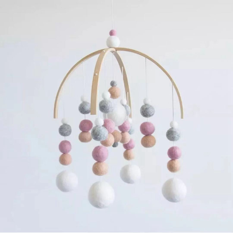 Baby Nordic Style Rattles Mobile Wooden Beads DIY Wind Chimes Bell Toys For Kids Room Bed Hanging Tent Decor Photography Props