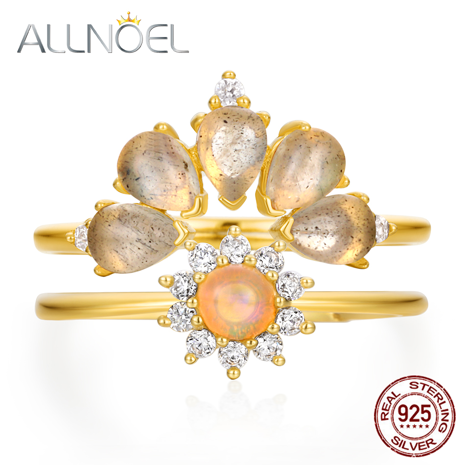 ALLNOEL Real Gold Plated Natural Opal  Gemstones Luxury Fine Jewelry Solid 925 Sterling Silver DIY Stackable Rings Set Hot  Sale