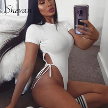 Shevan Ribbed Sexy Bodysuit Women High Waisted Knitted Short Sleeve O Neck Summe
