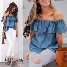 Moda mujer verano fuera del hombro clásico confort Vintage volantes manga blusas Casual Jeans azul Denim Tops camisas