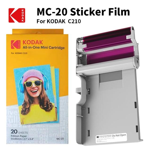 KODAK Juego de cartuchos de papel todo en uno C210, tecnología de impresión apalancamiento 4Pass 20 40 50 100, tinta para paquete de impresora fotográfica
