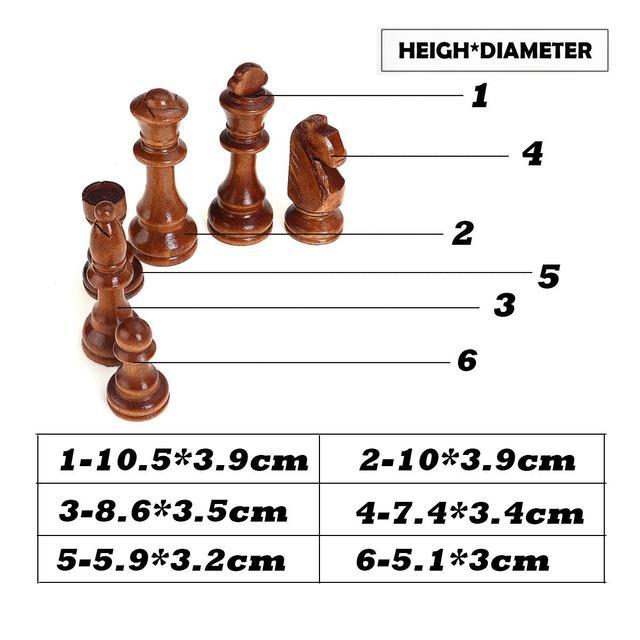 32 pièces, en bois, hauteur roi 105mm, jeu d'échecs de haute qualité 6
