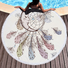Dreamcatcher Round Beach Towel With Tassels Feather Bohemian Microfiber Towel for Adult Swimming Picnic Yoga Mat 2019 geometric patterns summer round beach towel with tassels beach covers bath towel picnic yoga mat for adult toalla de playa