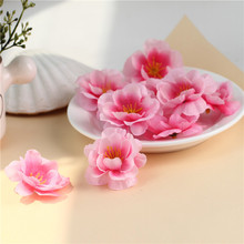 100pcs Mini Artificial Flowers Silk Peach Blossom Heads For Party Wedding Decoration Fake Scrapbooking Floral Wreath Fabric