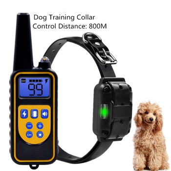 Electric Dog Training Collar 800M Pet Remote Control Device Backlight Display Waterproof Rechargeable Shock Collar 30% OFF