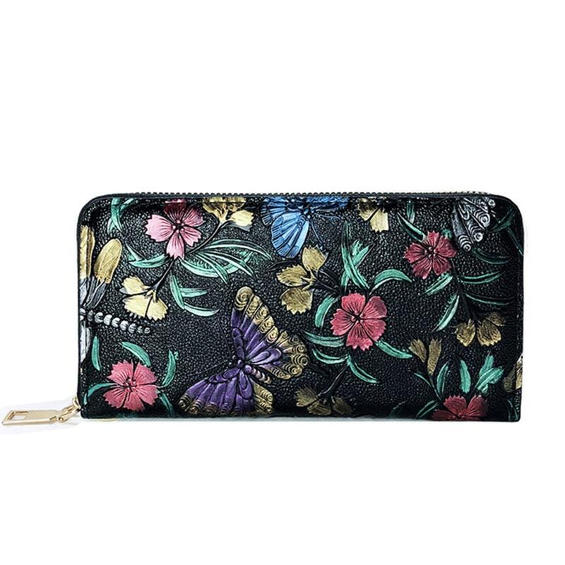 Women's Wallet Retro Knurling Rose Flower Pattern Long Leather Female Wallet Designer Purse Wristlet Women Phone Bag Sac Femme