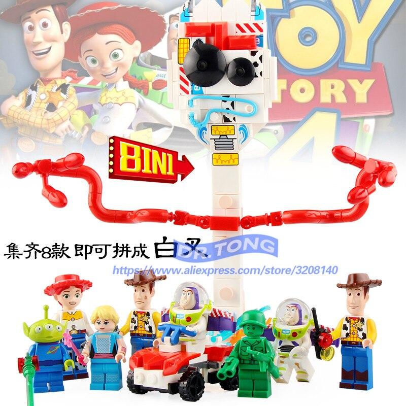 80 pièces 8 en 1 Toy Story 4 Story Woody Jessie Buzz Lightyear Alien sergent dessin animé personnage blocs de construction jouets cadeaux Sy1448