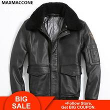 Free Shipping New Leather Jacket Brown Wool Stand Collar 100% Genuine Sheep Skin Leather A2 Flight Jacket Men Winter Warm Coat