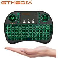 I8 en/ru/es/fr sem fio mini teclado usb ar mouse backlit touchpad para smart android caixa de tv jogo pc aaa bateria