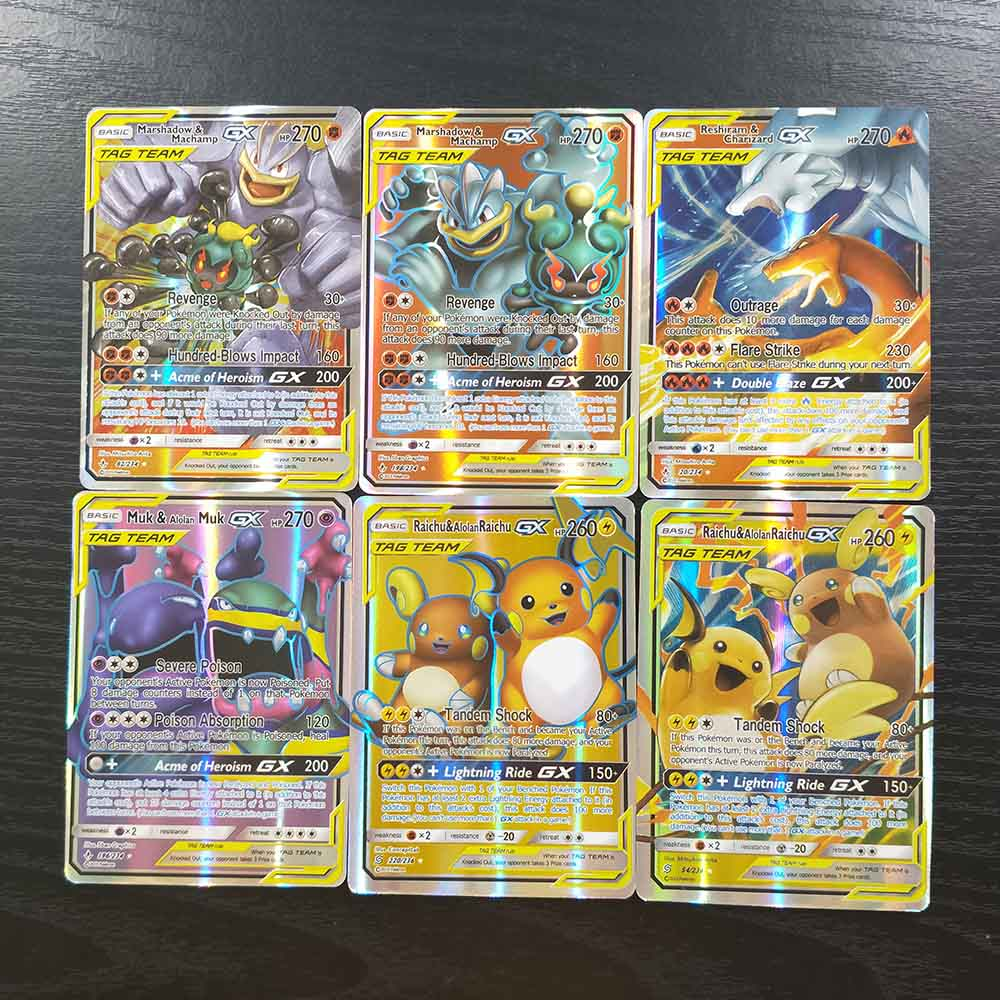 TAKARA TOMY Pokemon Cards Collections Battle Shining 100 Tag Team Card 94 GX 6 Trainer Children Toys Flash Card Table Game