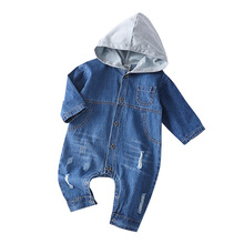 Spring Autumn Clothes Newborn Baby Romper Hooded Denim Jumpsuit For Baby Boys Clothes Unisex Baby Clothes Kids Costume 2020 New