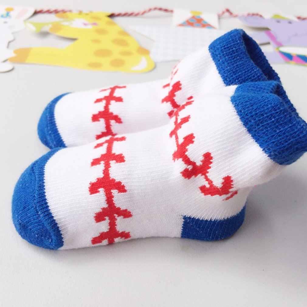 Nowonarodzone dziecko sportowy wzór baseballowy kreskówka niemowlę dzieci maluch krótkie skarpetki żakardowe dla 0-12 miesięcy