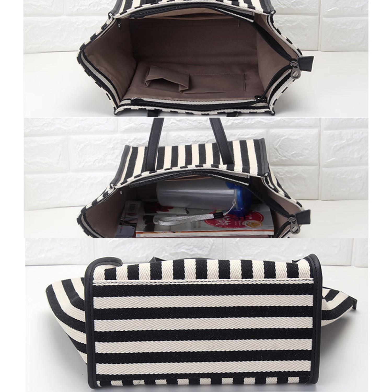Woman's Shoulder Bags Striped Shopping Bags High Quality Canvas Slung Ladies Beach Handbags Large Capacity Durable Premium Black 4