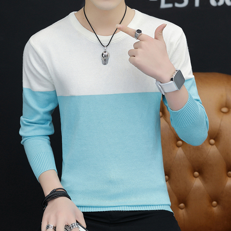 Coloring Casual Mens Sweaters Thin Spring And Autumn Long-sleeved Round Collar Pink Light Blue Black Tibetan Sweater Men