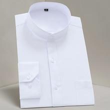 2019 masculino mandarim colarinho camisa homem branco negócios/festa/forma não engomar estilo chinês sólido tripulação pescoço único breasted camisa l