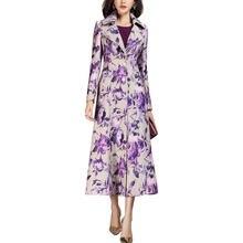 2021 printemps Nouveauté Mode Imprimé Floral Manteau Long En Laine Pour femmes