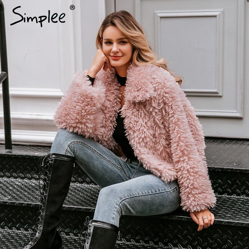 Image 2 - Simplee Casual long sleeve warm loose overcoats women 2019 Autumn  winter female fake fur coat Ladies elegant solid lapel outwearFaux  Fur