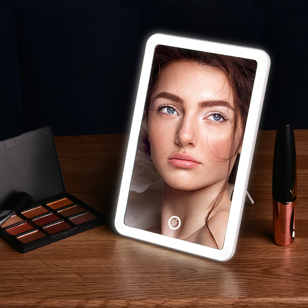 Makeup Mirror with Light USB Charging Touch Dimmer Table Cosmetic Mirror Portable Vanity LED Mirror for Bathroom Travel