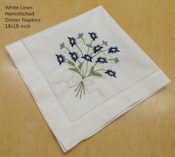 Set Of 12 Fashion Dinner Napkins White Hemstitched Linen Table Napkin With Color Embroidered Floral Wedding Napkins 18x18-inch