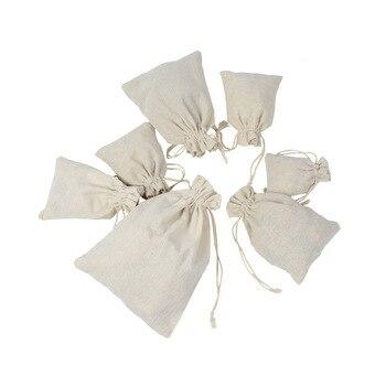 10pcs/lot Multi Size Reusable Cotton Drawstring Gift Bag Wedding Christmas Use Sachet Storage Charms Jewelry Packaging Linen Bag
